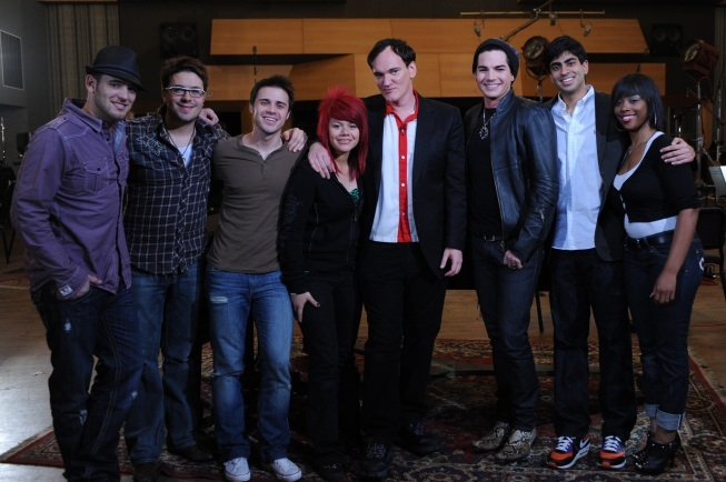 Quentin Tarantino ( Center) and the American Idol Top 7 ( Photo Courtesy of Ray Mickshaw / Fox)