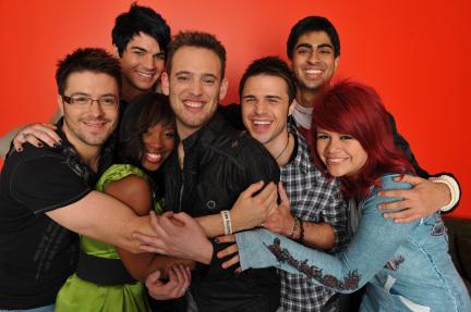 American Idol Top 7 L-R: Danny Gokey, Adam Lambert, Lil Rounds, Matt Giraud, Kris Allen, Anoop Desai and Allison Iraheta.