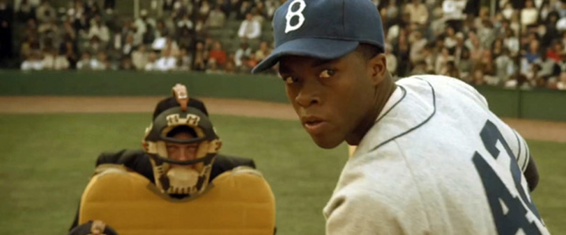 Chad Boseman as Jackie Robinson in 42