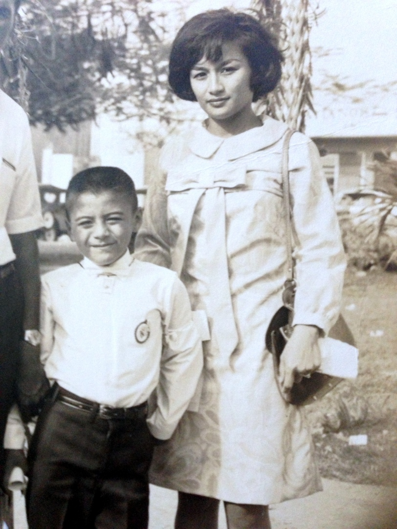 JP Leddy and his mother, Joyce Martratt at his first holy communion in the island of Guam, Santa Barbara Parish