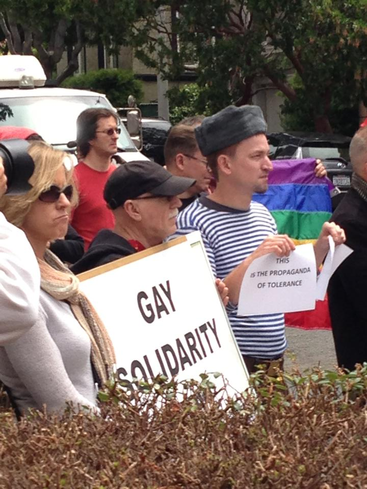 Protesting in front of Russian Consulate in San Francisco