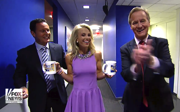Eisabeth Hasselbeck pictured with her colleagues at Fox and Friends. Photo taken by Fox News