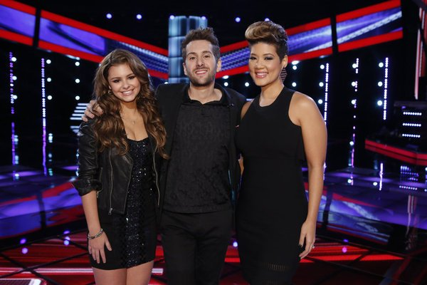 """The Voice"" Season 5 finalists: Jacquie Lee, Will Champlin and Tessanne Chin. (Trae Patton / NBC / December 10, 2013)"