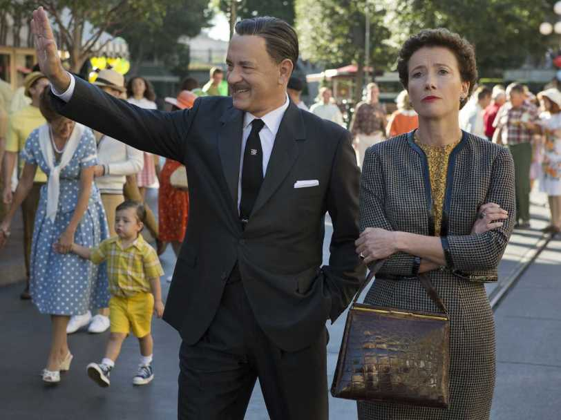 Tom Hanks as Walt Disney and Emma Thompson as  P.L. Travers in Saving Mr. Banks