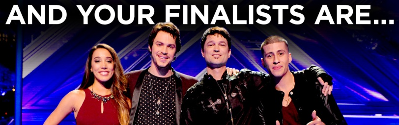 The X Factor's final three acts: (from left) Alex & Sierra, Jeff Gutt and Carlito Olivero MICHAEL BECKER / FOX