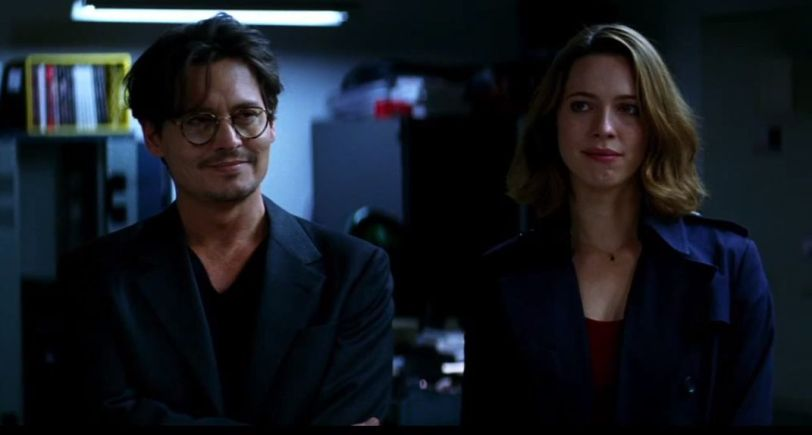 Johnny Depp and Rebecca Hall in Transcendence