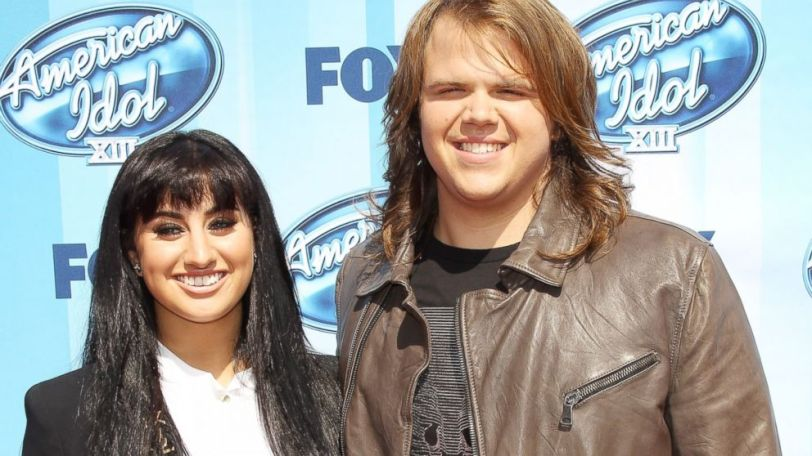 """American Idol Finalists Jena Irene and Caleb Johnson arrive at Fox's """"American Idol"""" XIII Finale held at Nokia Theatre L.A. Live, May 21, 2014, in Los Angeles. Michael Tran/Getty Images"""
