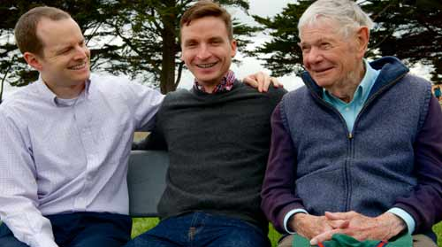 Photo: Matthew Chayt, left, and his husband, Will Scott, visited Bernard Mayes, right, near his San Francisco retirement home. (Jane Philomen Cleland/Bay Area Reporter)