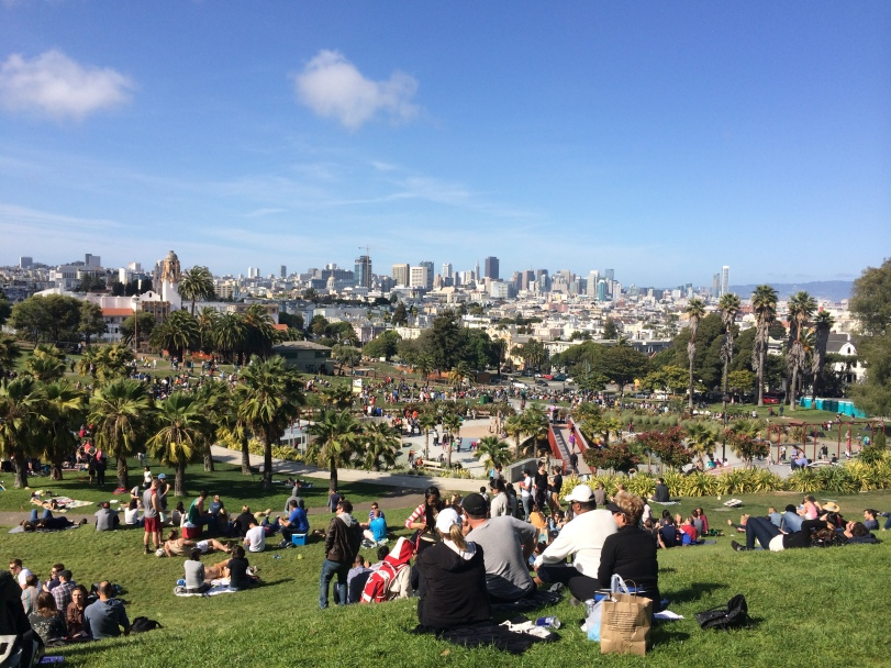 The view of other part of the city of San Francisco from Dolores Park. Photo by JP Leddy